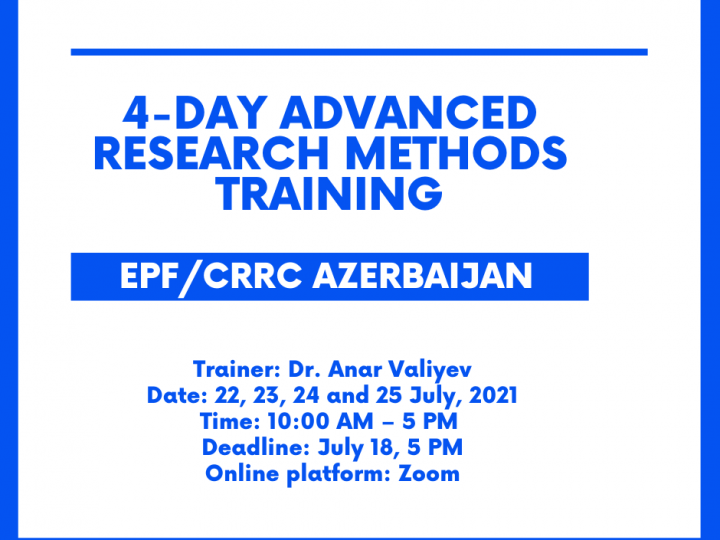 4-day Intensive Advanced Research Methods Training